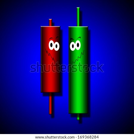 Japanese candles diagram in financial and stock markets analysis - stock photo