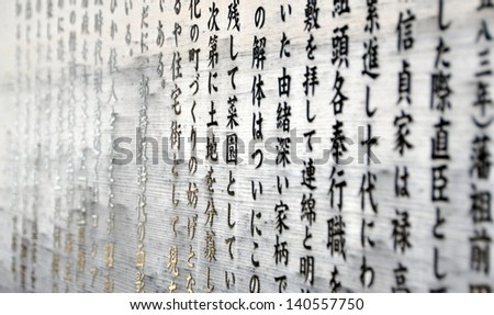 Japanese characters on wood - stock photo