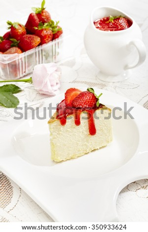 japanese cheese cake with strawberry sauce  - stock photo