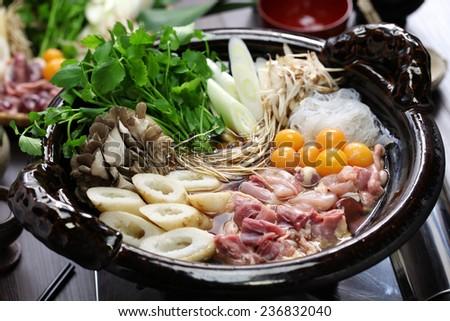 japanese chicken hot pot cuisine, kritanpo nabe with hinaizidori - stock photo