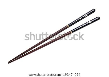 Japanese chopsticks, cherry blossom flower pattern - stock photo