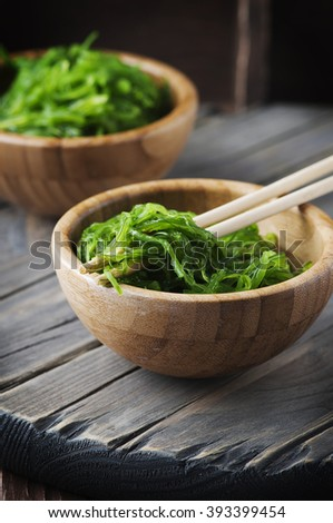 Japanese chuka salad on the wooden table, selective focus