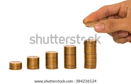 Japanese coins arranged on the table. - stock photo