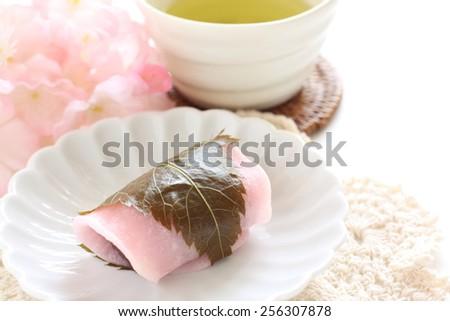 Japanese confectionery, Domyoji Mochi Cherry blossom cake - stock photo
