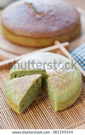 Japanese confectionery, green tea cake, Japanese Matcha Green tea cake - stock photo