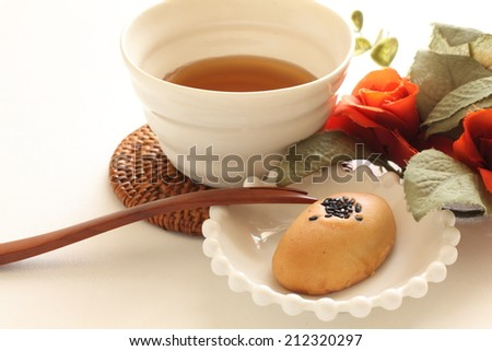 japanese confectionery, sweet potato cake and barley tea