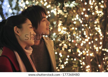 Japanese couple in Christmas - stock photo