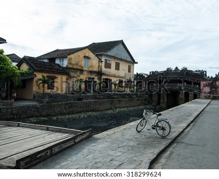 Japanese covered bridge, which connects Tran Phu street and Nguen Thi Minh Khai and is the symbol of Hoi An(Hoian). - stock photo