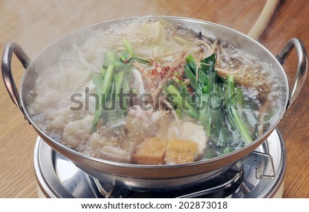 Japanese Cuisine-Beef Sukiyaki with steam - stock photo