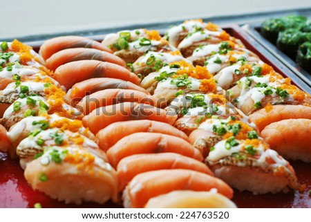 Japanese Cuisine -Buffet catering style Sushi Set in restaurant - salmon Maki Sushi and Nigiri Sushi - stock photo