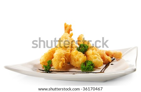 Japanese Cuisine - Deep-fried Shrimps and Vegetables - stock photo