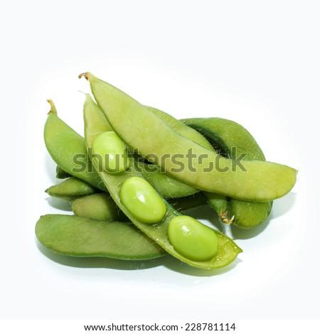 Japanese cuisine edamame bean (boiled green soy beans) - stock photo
