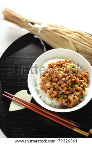 Japanese cuisine, fermented soybean NATTO - stock photo