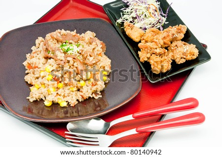 japanese Cuisine -fried rice Teriyaki pork  on whit backgrpund - stock photo