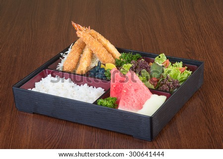 japanese cuisine. lunch box set on a background - stock photo