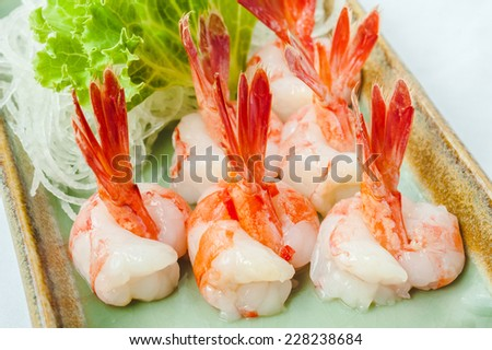japanese cuisine raw fish sushi  with vegetable