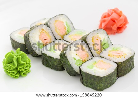 Japanese cuisine - rolls on a white background