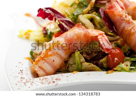 Japanese Cuisine - Salad with Tiger Prawn and Green Mix