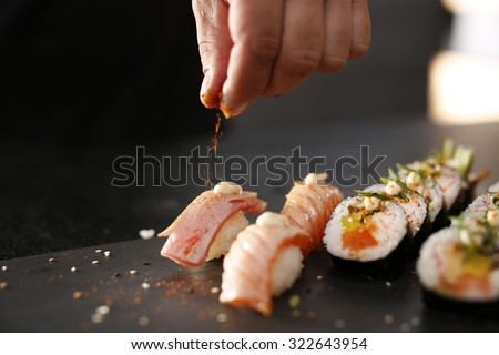 Japanese cuisine, sushi. - stock photo