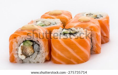 Japanese Cuisine - Sushi and Rolls with Salmon, Vegetables, Cream Cheese, isolated on a white background