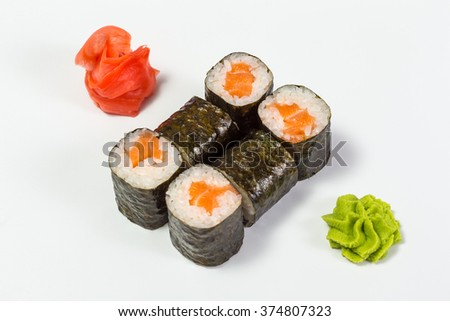 Japanese Cuisine - Sushi and Rolls with Seafood, Vegetables, Cream Cheese, isolated on a white background