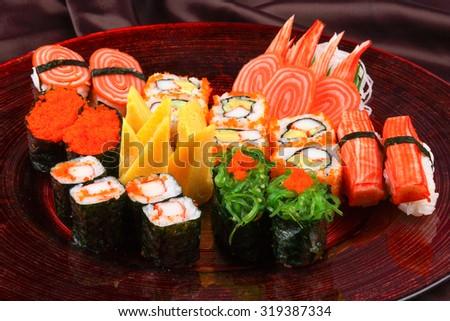 Japanese Cuisine - Sushi Set - stock photo