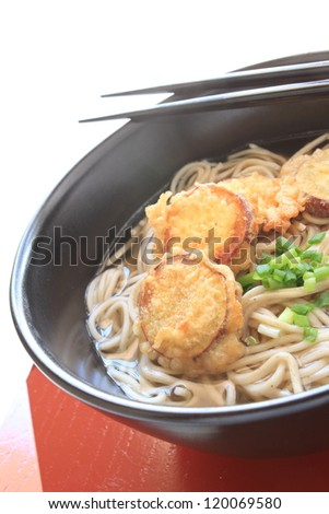 japanese cuisine, sweet potato tempura fried and soba noodle on white background with copy space