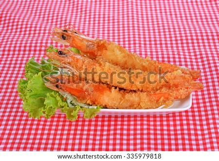 Japanese Cuisine - Tempura Shrimps (Deep Fried Shrimps) with Vegetables - stock photo