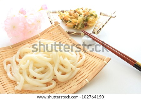 Japanese cuisine, Udon noodle with vegetable tempura - stock photo