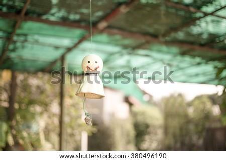 Japanese doll rain in pastel tone - stock photo