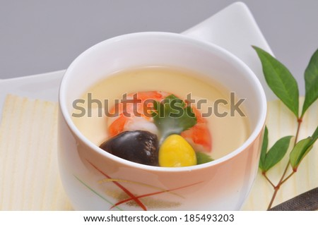 Japanese egg and shrimp soup