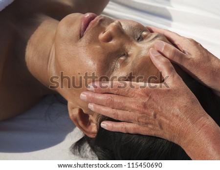 Japanese facial massage - stock photo