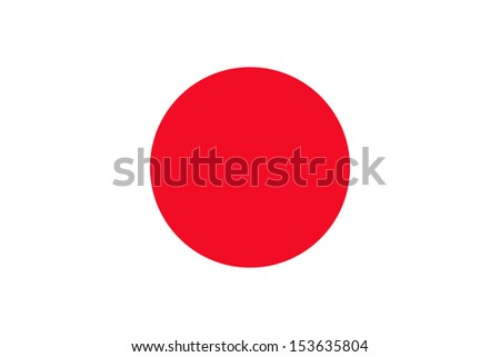 Japanese flag of Japan - Proportions: 3:2 - Colours: Red, White - stock photo