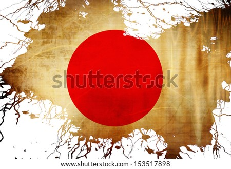 Japanese flag with some grunge effects and lines