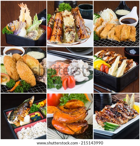 japanese food collage on the background. - stock photo