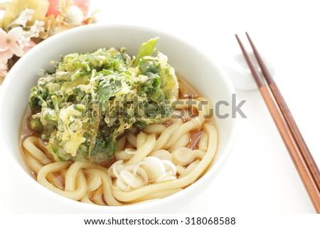 Japanese food, Coriander and Mitsuba Tempura with udon - stock photo