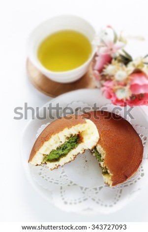 Japanese food, Dorayaki Pan cake with green tea cream filling