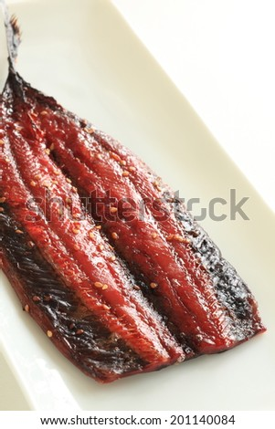 Japanese food, grilled Mirin Marinated Pacific saury - stock photo