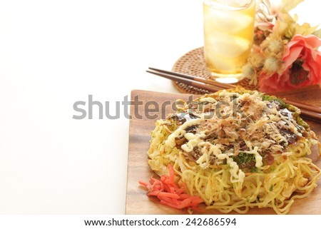 Japanese food, Modanyaki Ramen noodle Pan cake in Osaka style - stock photo