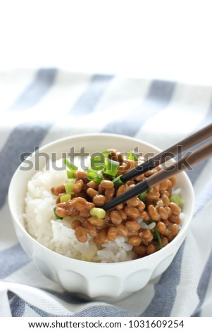 Japanese food, Natto fermenatation soy on rice for healthy food image