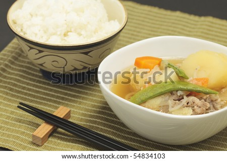 Japanese food, pork and potato in broth