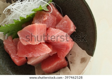 Japanese food, raw tuna fish Maguro - stock photo