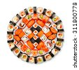 Japanese food restaurant delivery - sushi maki california gunkan roll platter big set isolated at white background, above view - stock photo