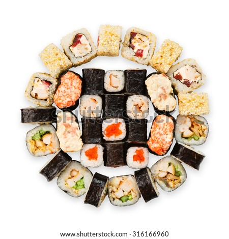 Japanese food restaurant delivery - sushi maki california gunkan roll platter set isolated at white background, above view