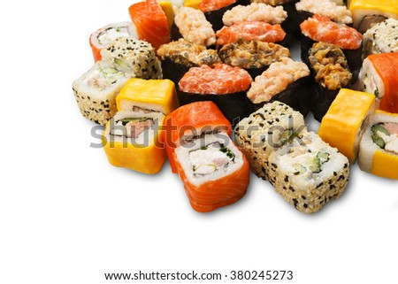 Japanese food restaurant delivery - sushi maki california gunkan roll platter set isolated at white background, closeup