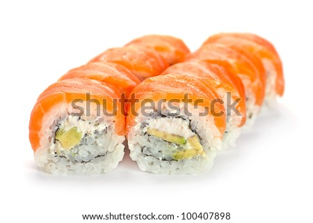 Japanese food roll with shadow on white