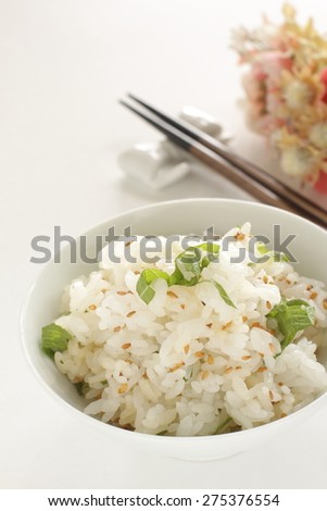 Japanese food, sesame and Oba herb mixed rice