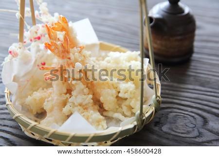 Japanese food , Shrimp Tempura - stock photo