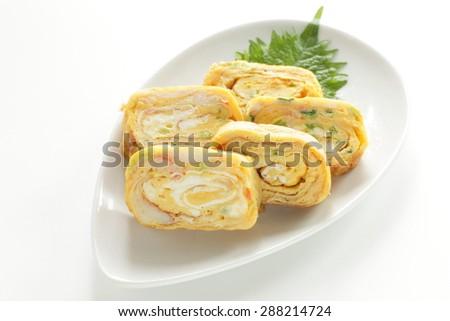 Japanese food, Snow crab Fried egg roll Tamagoyaki - stock photo
