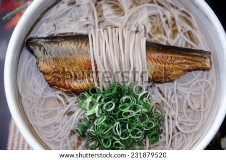 Japanese food: soup with fish,noodles and onions - stock photo